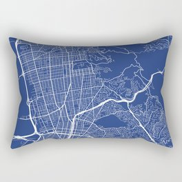 Berkeley Map, USA - Blue Rectangular Pillow