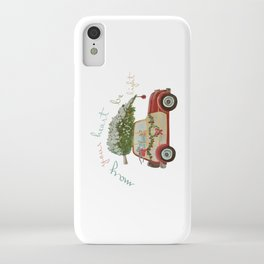 Vintage Christmas car with tree red iPhone Case