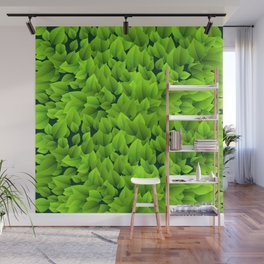 Green leaves pattern Wall Mural