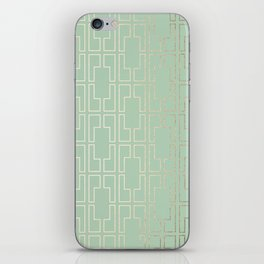Simply Mid-Century in White Gold Sands and Pastel Cactus Green iPhone Skin