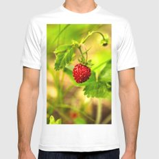 Wild strawberry Mens Fitted Tee MEDIUM White