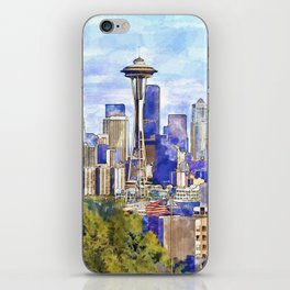 Seattle View in watercolor iPhone Skin