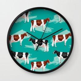 Red & Black & White Holsteins // Green Wall Clock