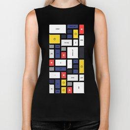 LOL, Mondrian – White / Blue / Yellow / Red Abstract Print Biker Tank