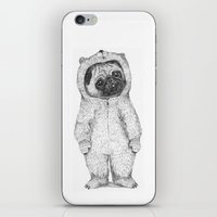 pug iPhone & iPod Skins featuring Winter pug by maria elina