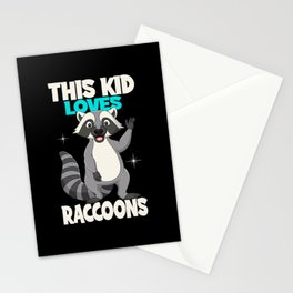 This Kid Loves Raccons I Kids Raccoon Outfit Stationery Cards