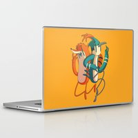 regular show Laptop & iPad Skins featuring Mordecai & Rigby // Regular Show by Daniel Mackey