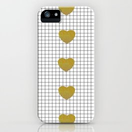 Gold Hearts and Grid iPhone Case