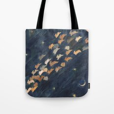 The moon, Venus and shooting star Tote Bag