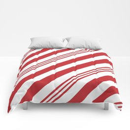 Red Candy Cane Stripes Comforters