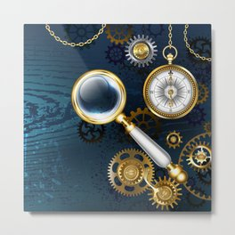 Steampunk blue background with magnifier Metal Print