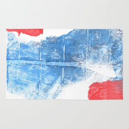 Blue red abstract Rug