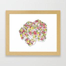Iced Flower Hearts Framed Art Print