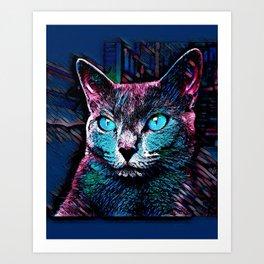 CAT COLORFUL Art Print