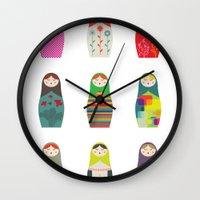 russian Wall Clocks featuring Russian Dollz by malobi