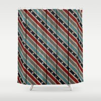patriotic Shower Curtains featuring Patriotic Wood Texture #6 by Juliana RW
