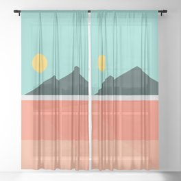 Geometric Landscape 16 Sheer Curtain