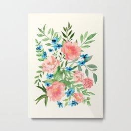 Watercolor Peonies Metal Print