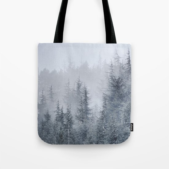 Early moorning... Into the foggy woods Tote Bag