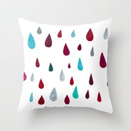 raindrops-red Throw Pillow