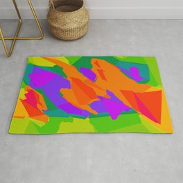 colorful abstract background in purple orange green and blue Rug