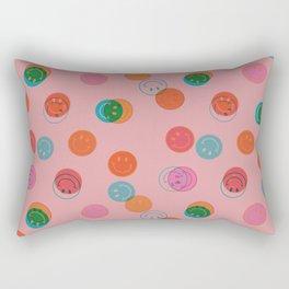 Smiley Face Stamp Print in Pink Rectangular Pillow