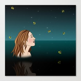Swimming With Fireflies Canvas Print