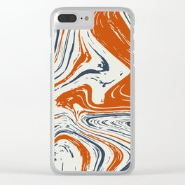 blue and orange marble abstract texture Pattern Clear iPhone Case