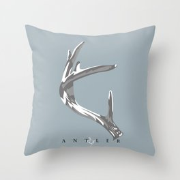 Antler Grey and White on Blue - Left Throw Pillow
