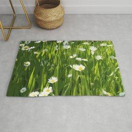 Flowery meadow drawn Rug