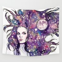 the moon Wall Tapestries featuring moon by Beth Jorgensen