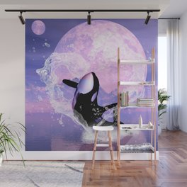 Orca jumping by a heart Wall Mural