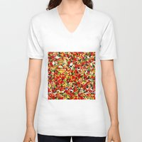candy V-neck T-shirts featuring candy by bugo
