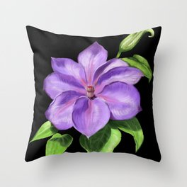 The Purple Clematis Throw Pillow