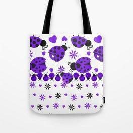 Cute Ladybugs Purple Tote Bag
