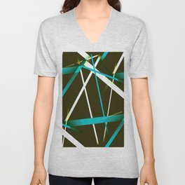 Seamless Blue and White Strips Pattern On Brown Black Background Unisex V-Neck