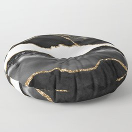 In the Mood Black and Gold Agate Floor Pillow
