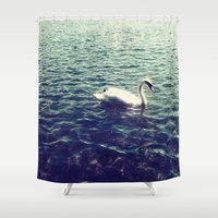 swan Shower Curtains featuring Swan by Sasha H