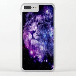 leo lion purple blue Clear iPhone Case