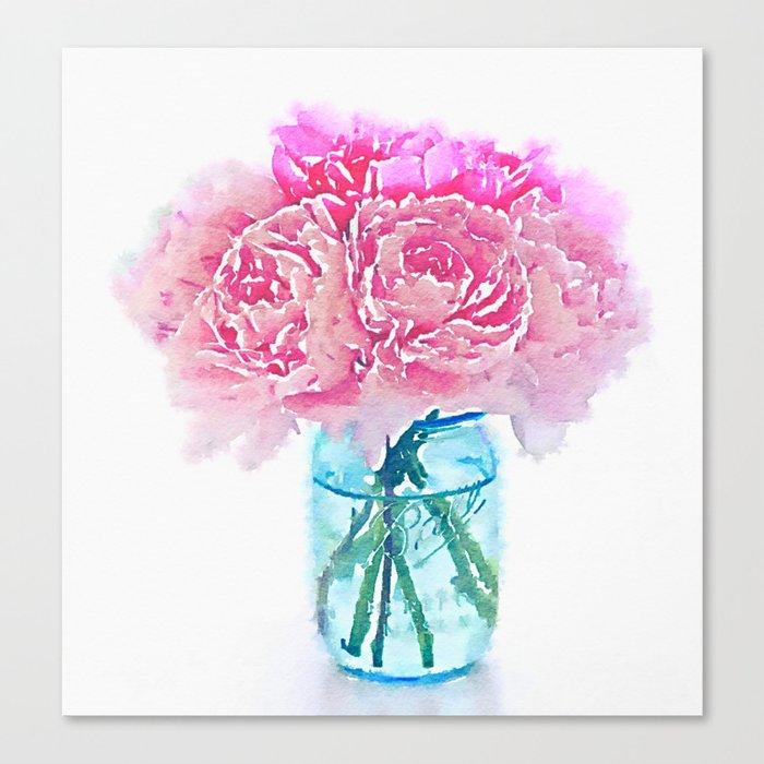 Watercolor Pink Peonies Flowers In Vase Print Canvas Print By