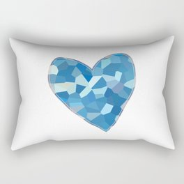 Aqua Blue Mosaic Heart Rectangular Pillow