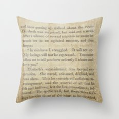 Pride and Prejudice  Vintage Mr. Darcy Proposal by Jane Austen   Throw Pillow