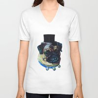pugs V-neck T-shirts featuring Sir Pugs by Bonnie J. Breedlove