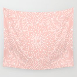 White Mandala Pattern on Rose Pink Wall Tapestry