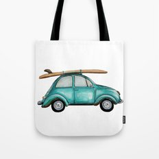 Turquoise summer time VW bug  Tote Bag