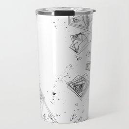 Mountain Vertices, Mt. Shasta, Black Geometric Travel Mug