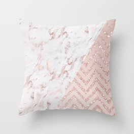 Rose Gold Marble Glitter Chevron Sparkles Throw Pillow