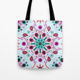 Pointillism mandala | Light blue, red and purple Tote Bag