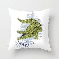 crocodile Throw Pillows featuring Crocodile by Sam Jones Illustration