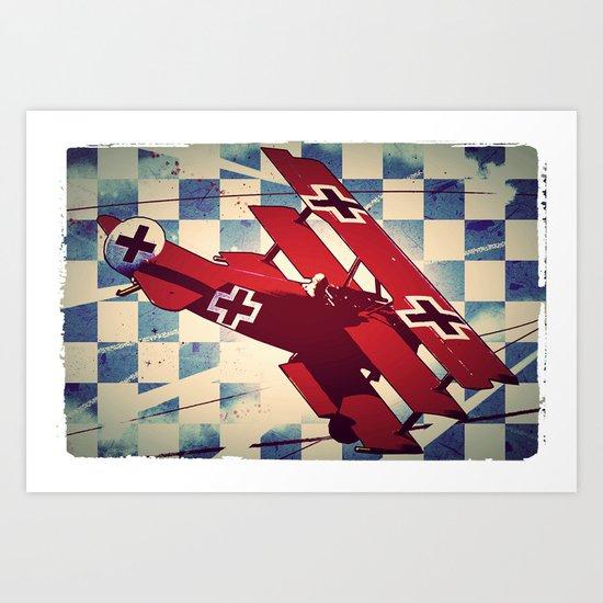 Fokker triplane (Red Baron) Pop Art Art Print